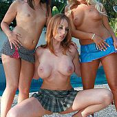 3 sweethearts on high heels driling outdoor.