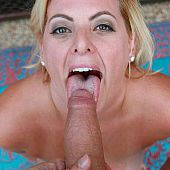 Blond older takes unfathomable in mouth.